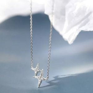 NEW 925 SILVER PLATED DIAMOND STAR NECKLACE